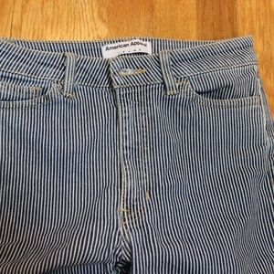 American Apparel Pinstripe Skinny Jeans High Rise